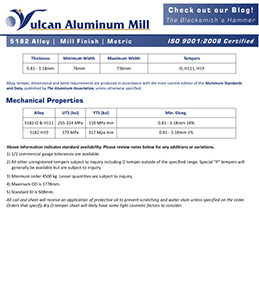 Vulcan Aluminum Mill Spec Sheet - 5182 Alloy Metric Version