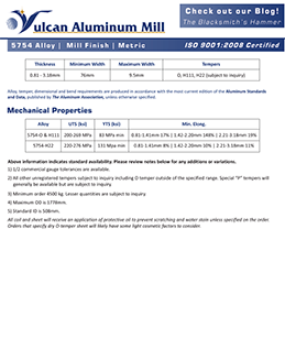 Vulcan Aluminum Mill Spec Sheet - 5754 Alloy Metric Version