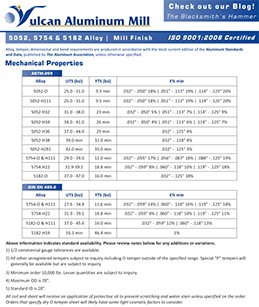 Vulcan Aluminum Mill Spec Sheet - English Version